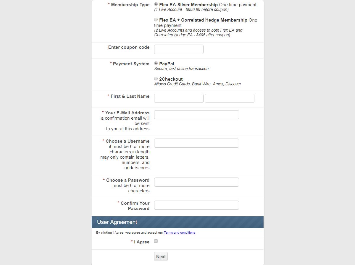 Forex Flex EAの購入画面