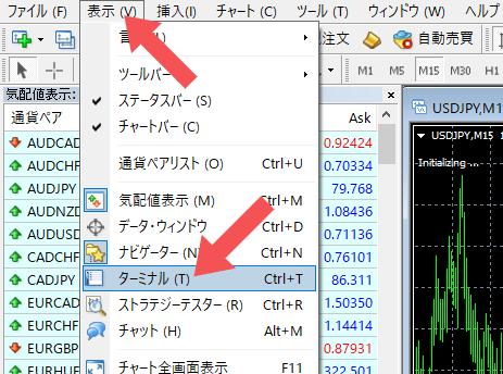MT4操作画面のキャプチャ画像