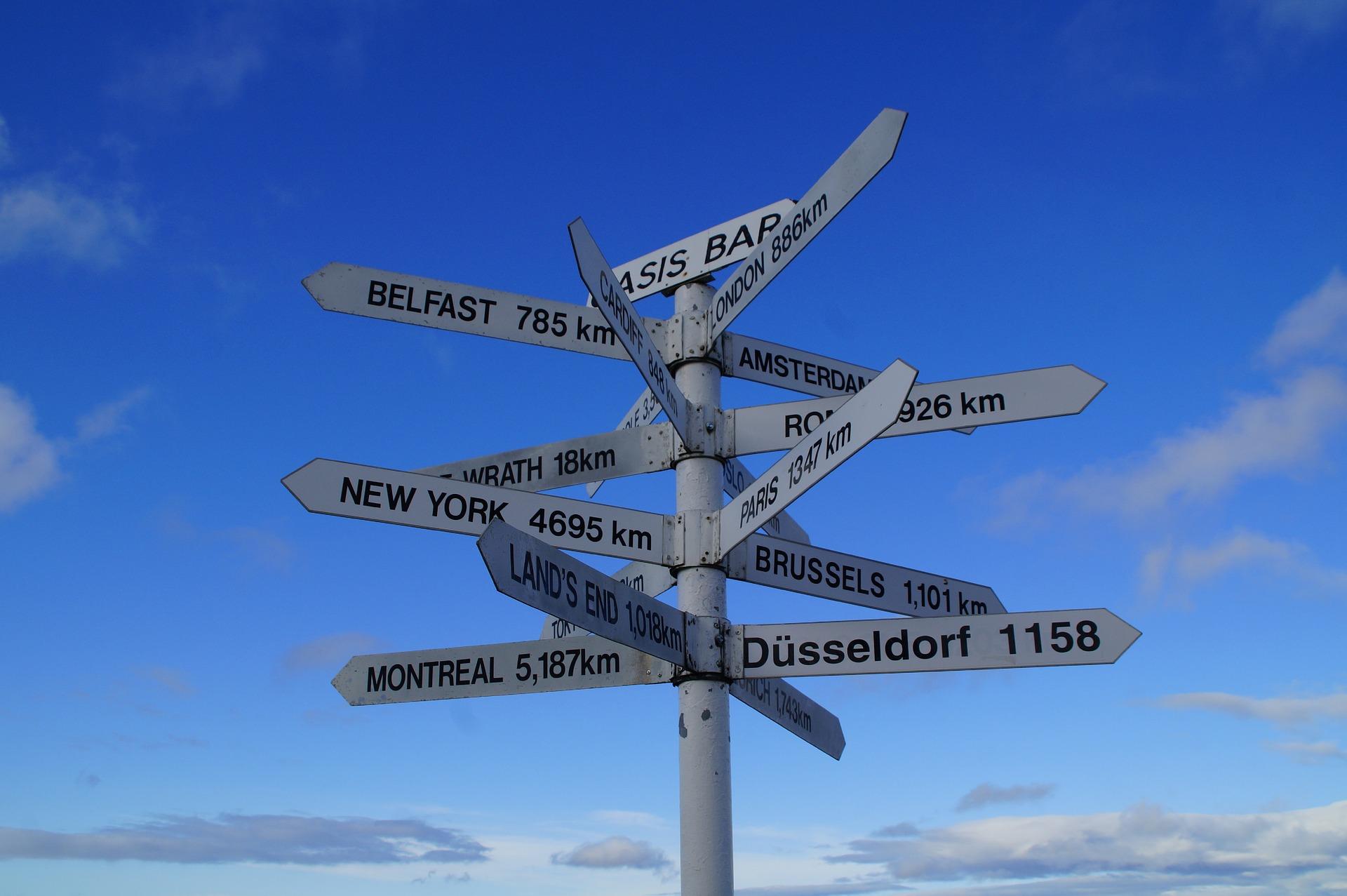 多くの地名を示した標識
